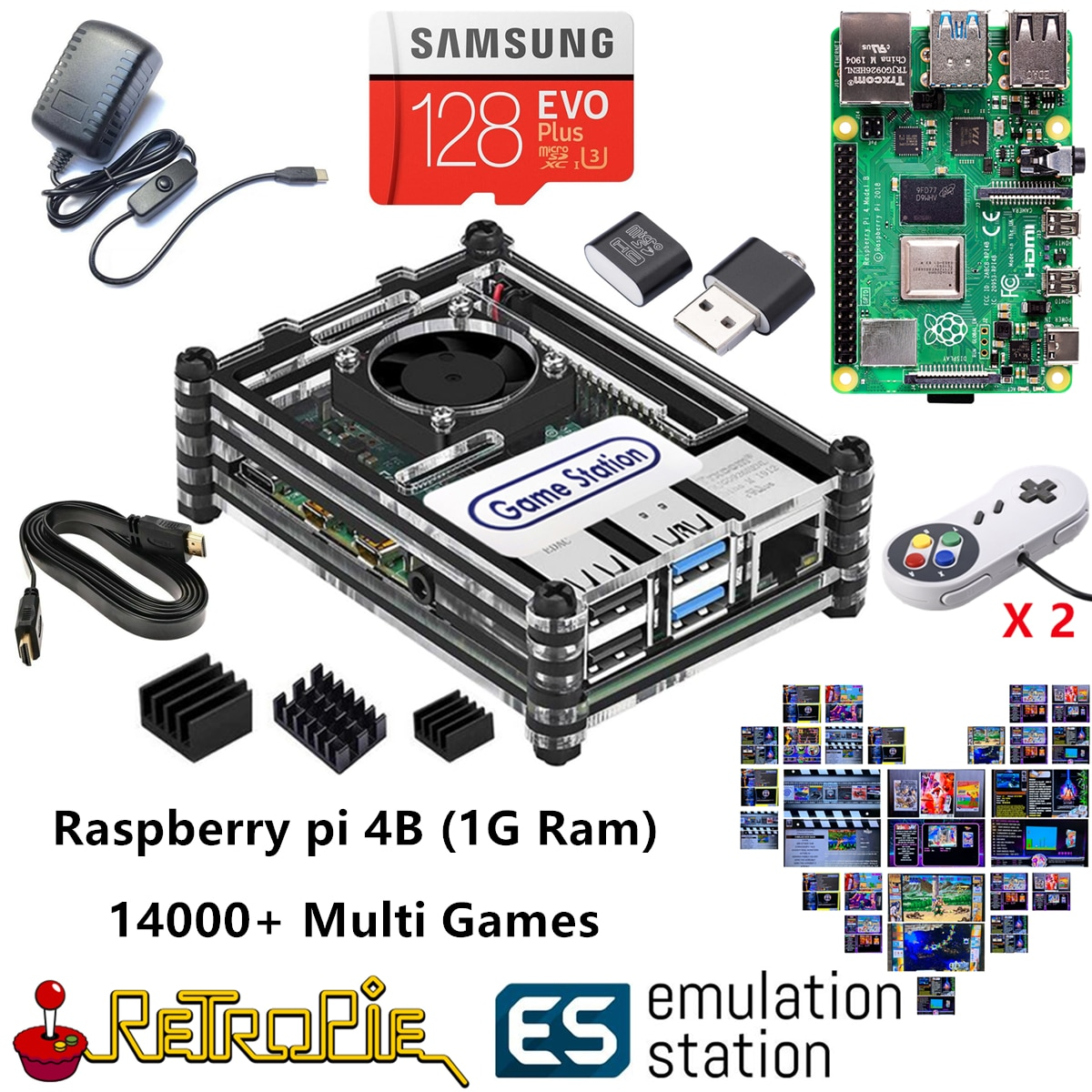 Новая станция эмуляции ES 128G Raspberry Pi 4B 14000 + игры в 1 Retropie аркадная игровая консоль классические ретро игры PS NES