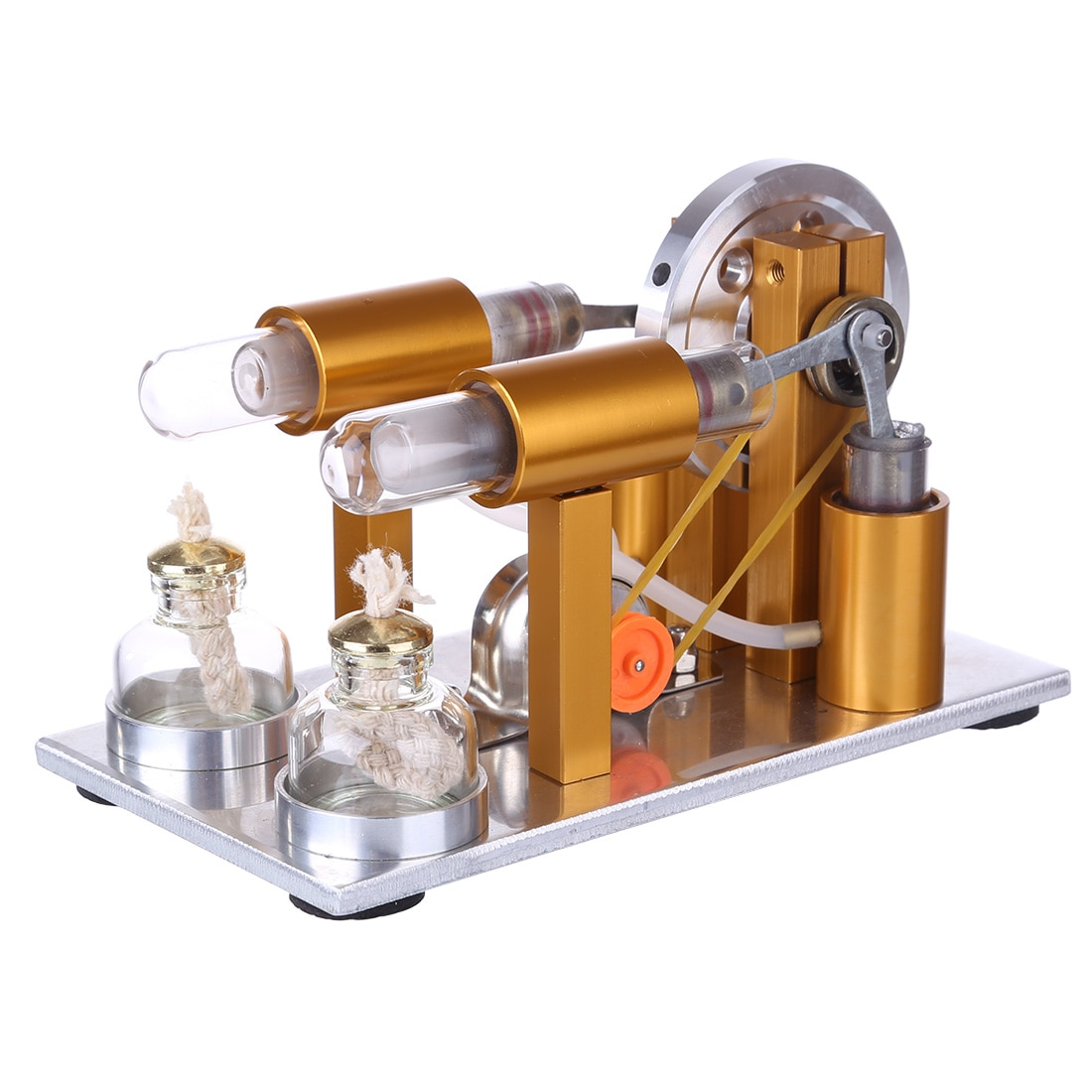 Two-cylinder Stirling Engine Model Physics Experiment Generator Model (Random Color of Bulb) - Golden stirling engine generator engine micro engine model steam engine hobby birthday gift