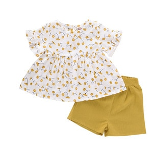 2020 new set of short-sleeved floral top with solid color shorts Split two-piece Outfits casual fashion girls suit  L1216