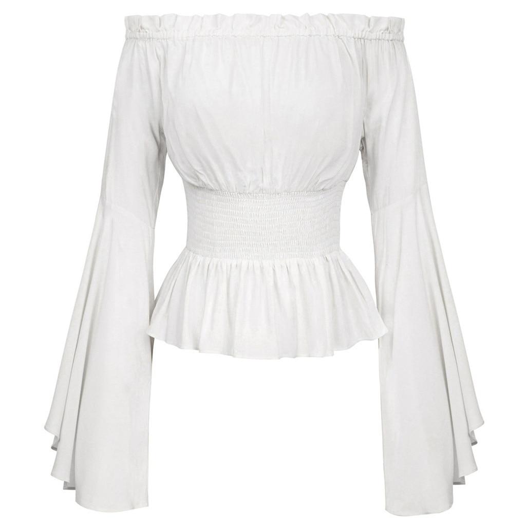 Damskie głęboki dekolt koszula w stylu Vintage retro na przyjęcie nosić steampunkowe wiktoriańskie Off Shoulder lace-up slim panie lato topy koszulki z krótkim rękawem