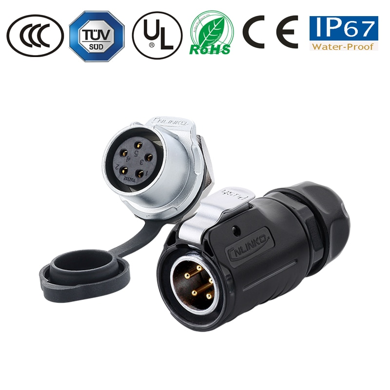 5 Pin IP67 Waterproof Connector Wiring panel male Plug Female Socket M20 led Light/Solar Energy/TV/monitor power Connector