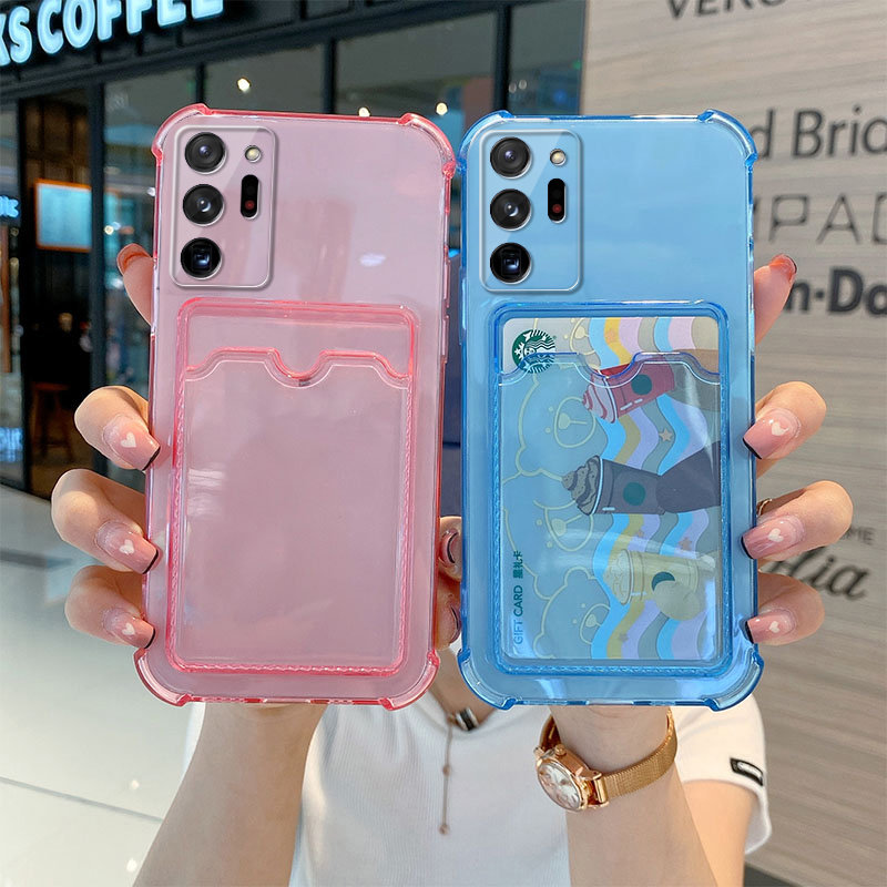 For Samsung Galaxy Mobile Phone Case A02S A10S A12 A32 A22 A42 A52 A72 A82 S10 20 21 E FE Plus Ultra Soft Cover Card Transparent