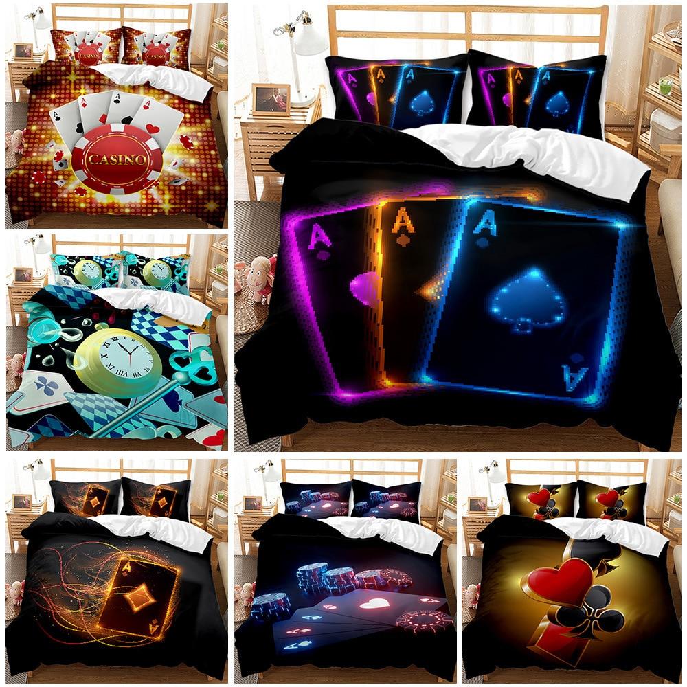 Erosebride-غطاء لحاف للعبة البوكر ، غطاء سرير للعب مع بطاقات اللعب ، لعبة ريترو ، غطاء لحاف مزين باللون الأحمر والأسود