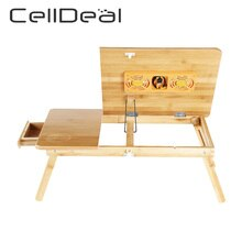 CellDeal Adjustable Foldable Laptop Desk Notebook Bamboo Table Stand Tray Bed Small Table Tray Table Living Room Coffee Table