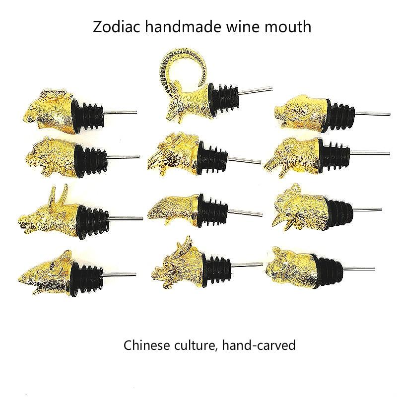 Chinese Culture Zodiac Wine Mouth Pour Spouts Zinc Alloy Animal Head Snake Dragon Rabbit Mouse Art Ornaments Wine Tools