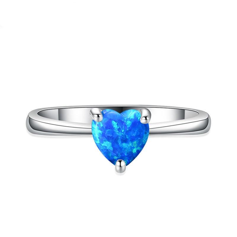 Anillos minimalistas de piedra de ópalo de corazón azul para mujer, anillo...
