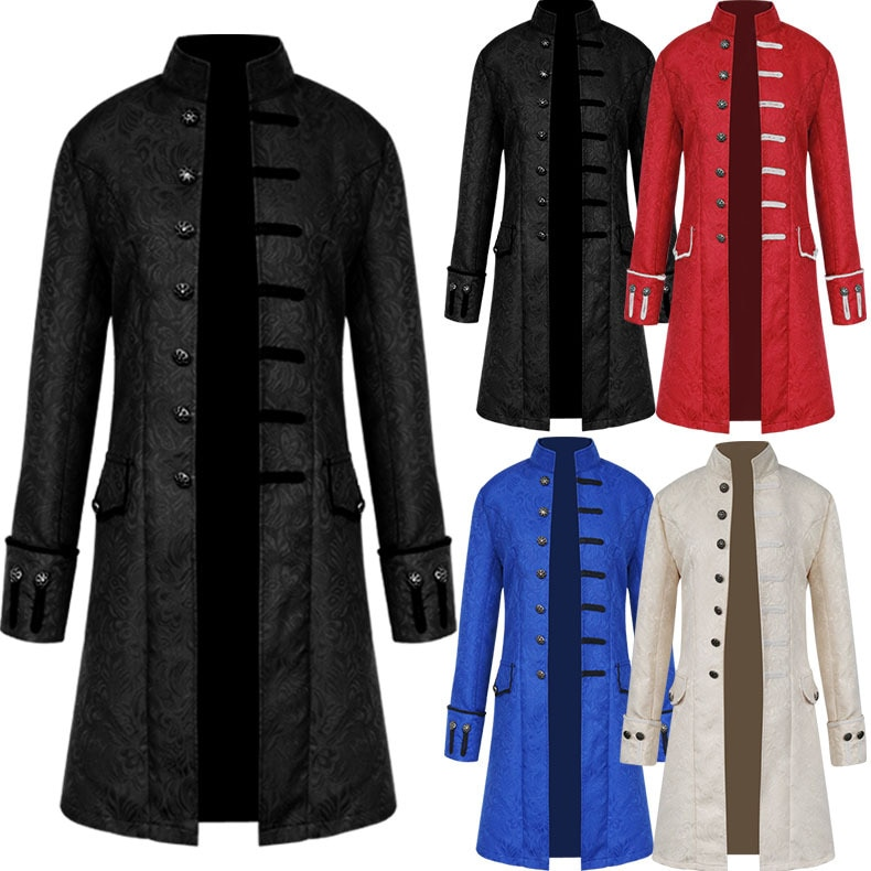 Vintage masculino trench coat steampunk jaqueta medieval traje carnaval manga longa bordado gothic brocado frock gola casaco