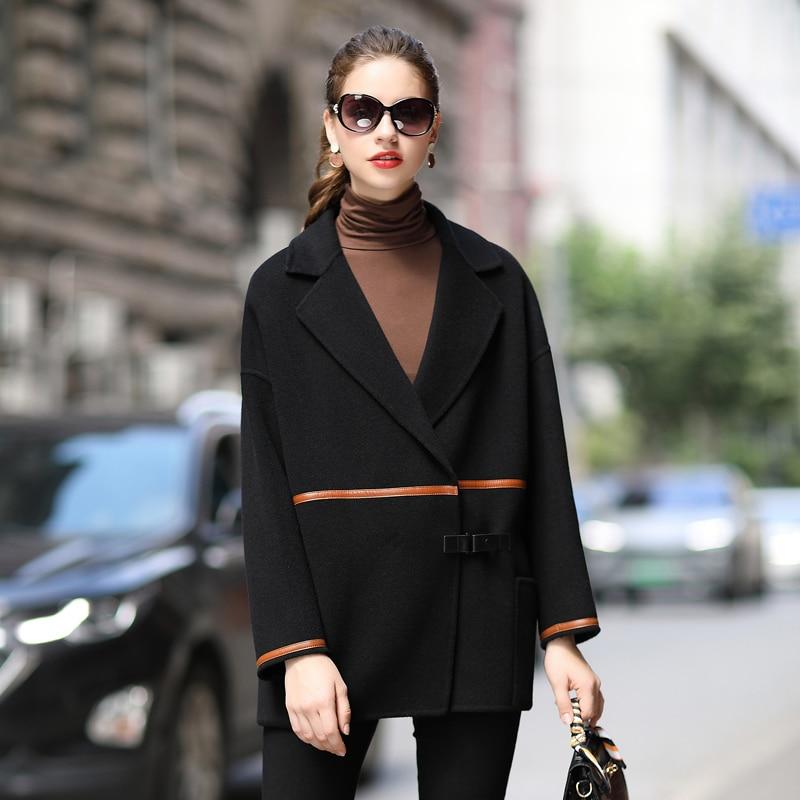 معطف فرو صوف أصلي 100%, معطف نسائي بسيط ذو وجهين ، جاكيت نسائي كبير الحجم ، Zjt1365