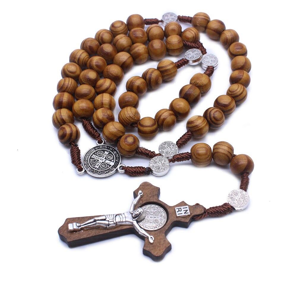 Крест с надписью INRI Подвеска для ожерелья с изображением Иисуса для Для мужчин женские деревянные ложки с длинной бисером цепочка Розарий Цепочки и ожерелья s, мужские ювелирные изделия