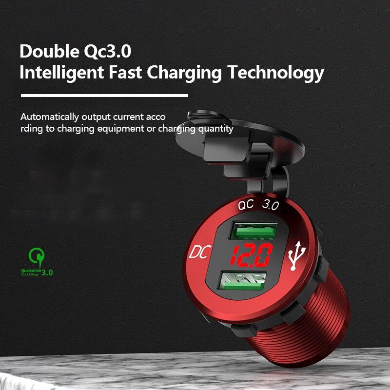 Cargador de coche Dual USB QC 3,0, toma de corriente de aluminio con pantalla de voltaje Digital para motocicleta de coche 12V/24V