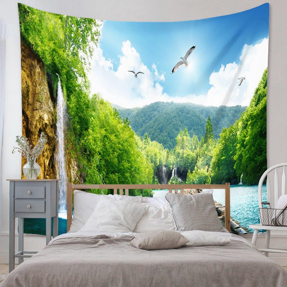 Весенний ландшафт, водопад, озеро, гобелен, настенная подвеска, зеленые настенные гобелены, скандинавский Декор для дома, комнаты, настенное...