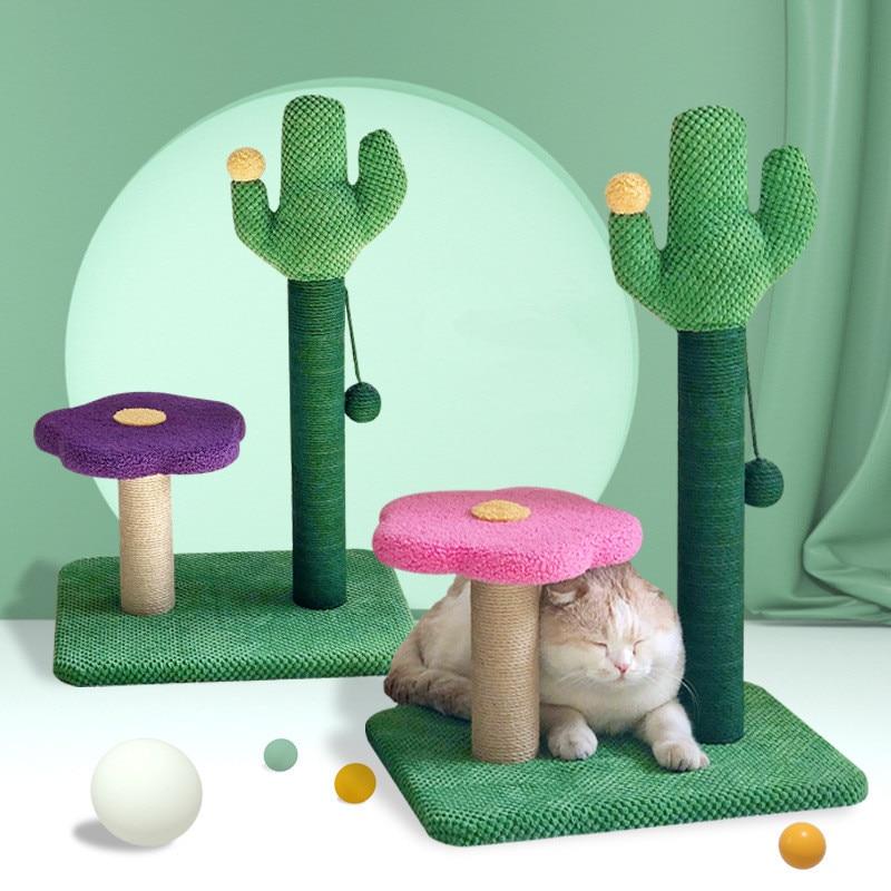 Cat Grinding Claw Sisal Cat Toy Column Flower Cactus Cat Climbing Frame Cat Nest Cat Tree House Furniture Shelves