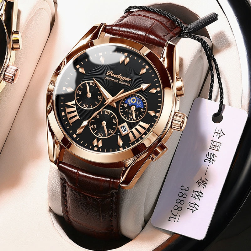 POEDAGAR Sport Watches 2021 New Fashion Leather Rose Gold Men Watch Top Brand Luxury Quartz Wristwat