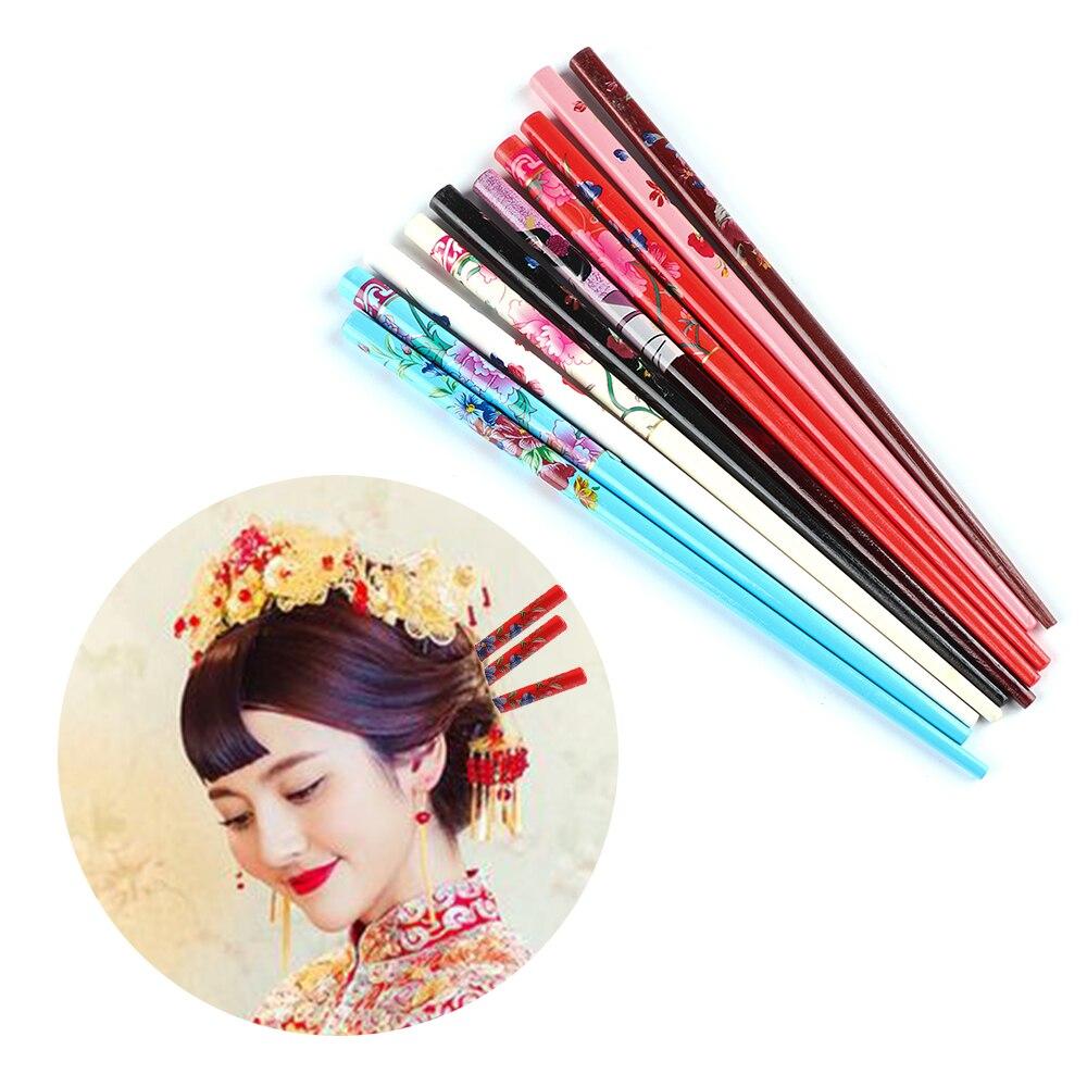 2 pçs estilo retro madeira natural pauzinhos de cabelo colorido hairpin mão-esculpida barrettes feminino acessório de cabelo ferramentas de estilo