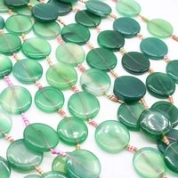 2strandslot 30 mm natural emerald glossy round agate coin stone beads for diy necklace jewelry making loose 15 free shipping