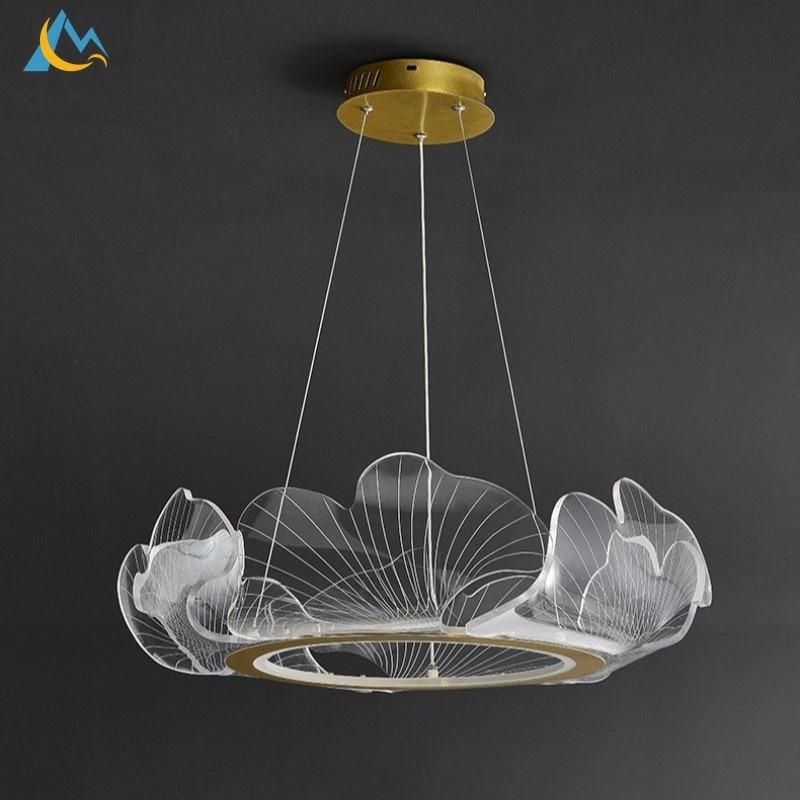 الحديث بسيط تسليط الضوء الاكريليك LED الثريا غرفة الطعام غرفة نوم قلادة ضوء دراسة غرفة المعيشة ديكور لوتس ليف قلادة مصباح