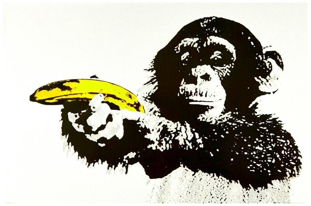 Monkey with Banana Art Film Print Silk Poster Home Wall Decor 24x36inch
