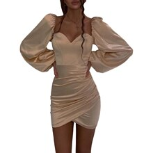 Women Lantern Sleeve Solid Color Dress Ladies Female Stylish Dress for Party Gathering