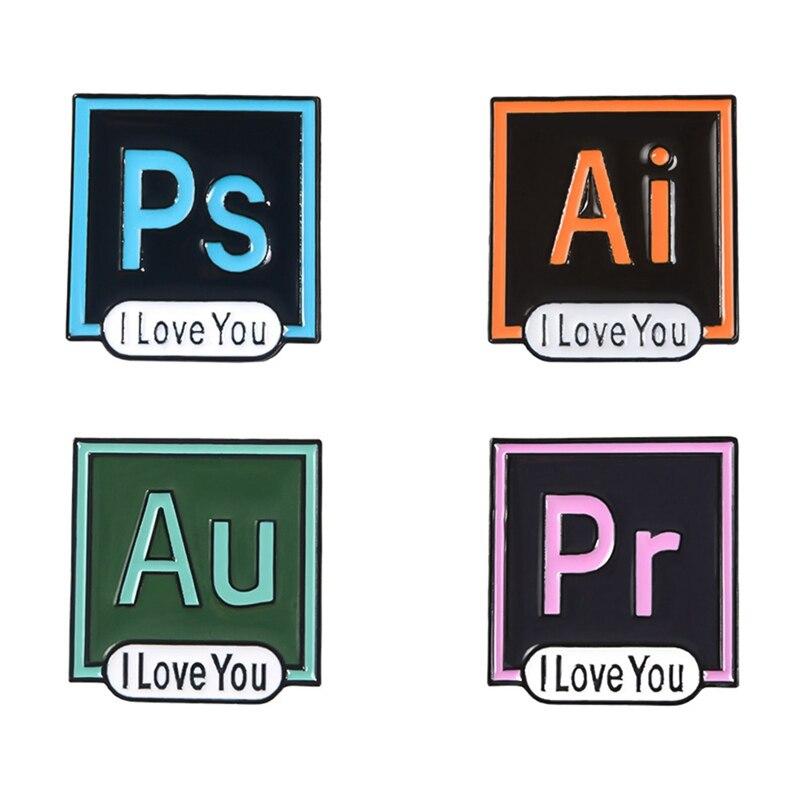 Photoshop broche Pins creativos Office Software AI PS Pr AU broche estilo profesional personalidad joyería de regalo para amigo Boutique
