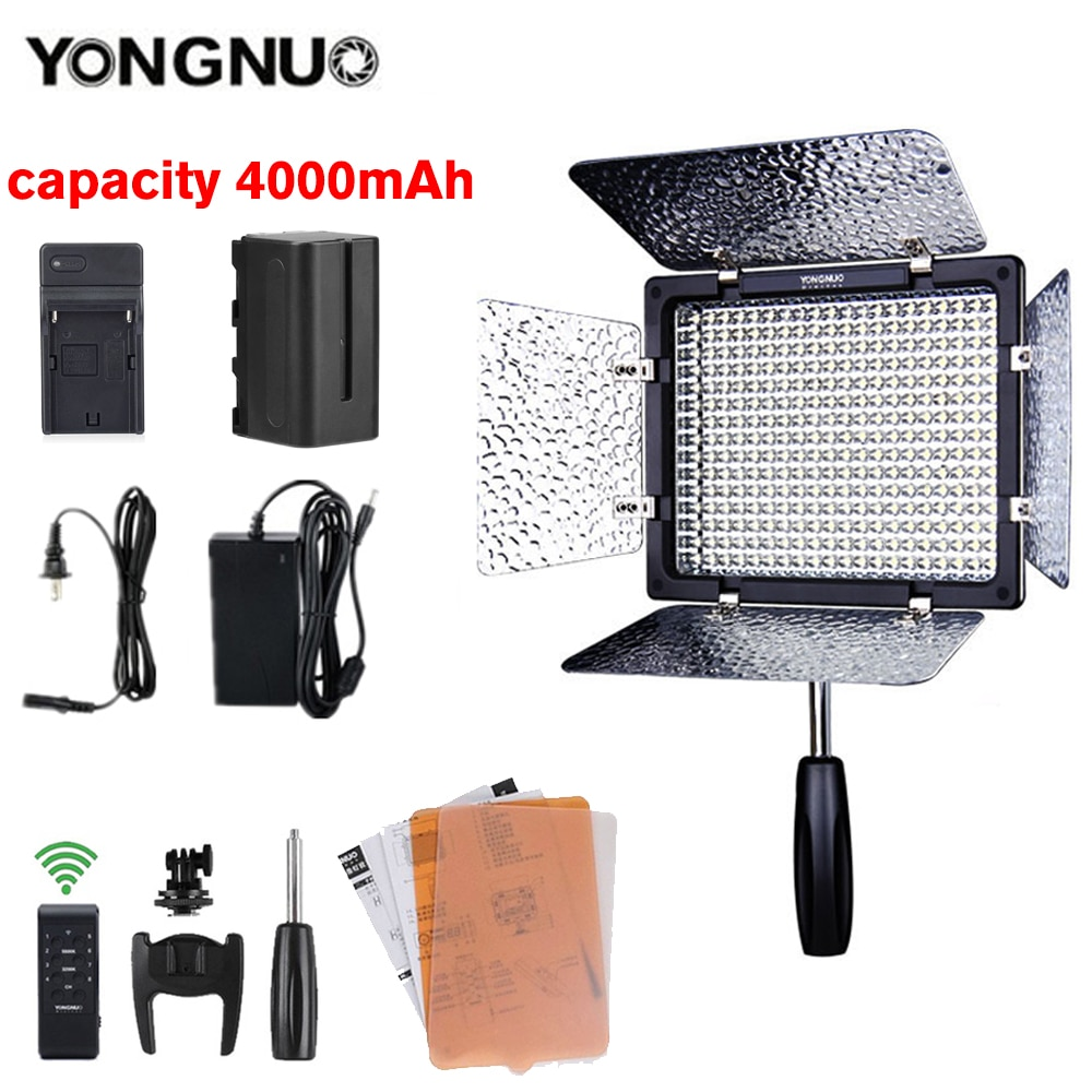 Yongnuo YN300 III 3200k-5500K CRI95 كاميرا صور LED فيديو ضوء اختياري مع AC محول الطاقة + بطارية عدة YN-300 III