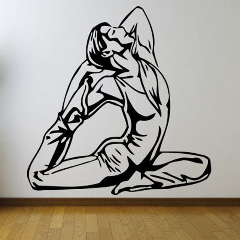 Calcomanías de pared deportes decoración del hogar Pared de salón pegatinas artísticas de vinilo decoración de pared habitación gimnasio chica Yoga deporte patrón de papel de pared B365