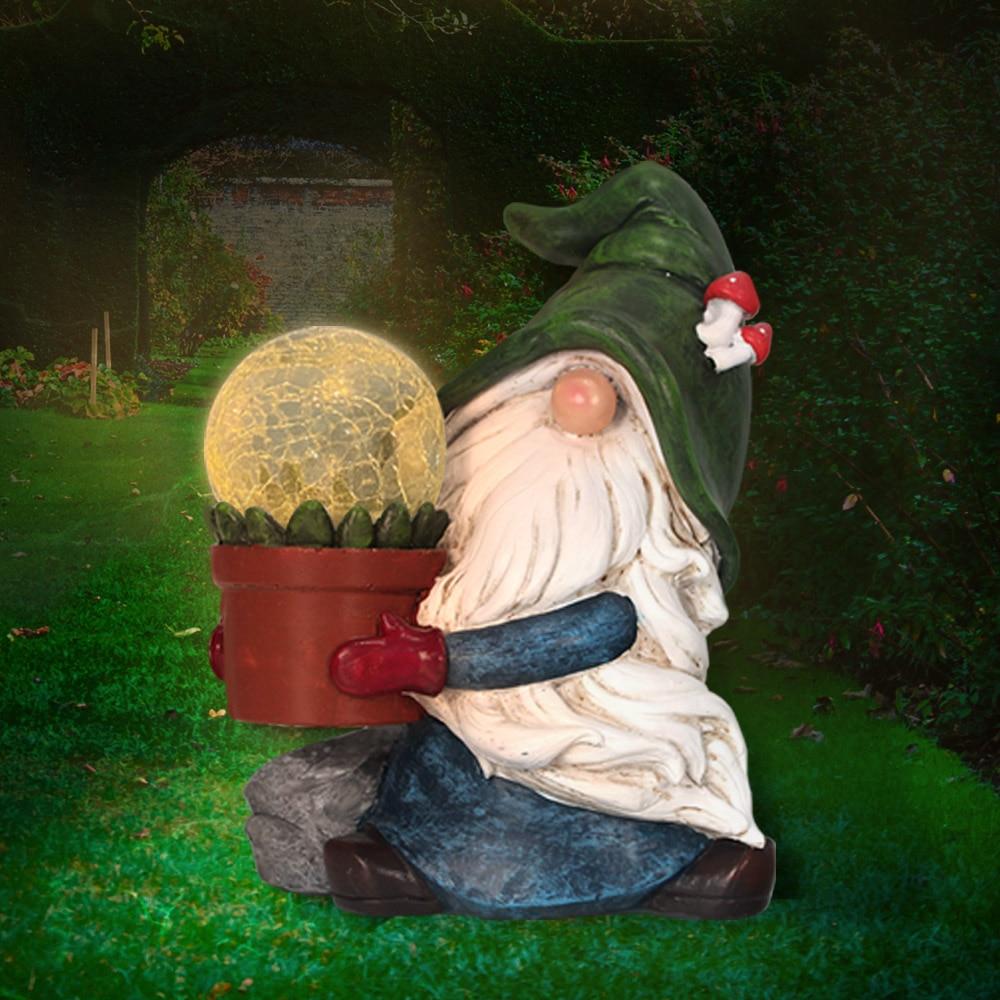 مصباح حديقة يعمل بالطاقة الشمسية بشكل قزم تمثال تمثال غنوم في الهواء الطلق تحمل السحر Orb للفناء ، الحديقة ، الفناء ، مسار الديكور.