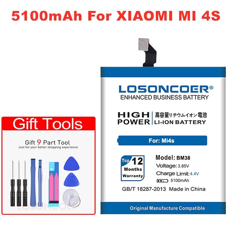 LOSONCOER 4800mAh Baterias De Polímero De bateria para Xiao mi mi mi 4S BM38 4S M4S