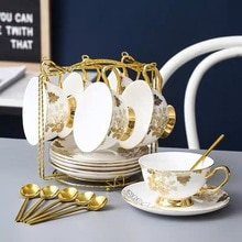 Coffee Tea Set With Holder Nordic Bone China Ceramic Afternoon Tea Cup Saucers Set Household Luxury Flower Teacup
