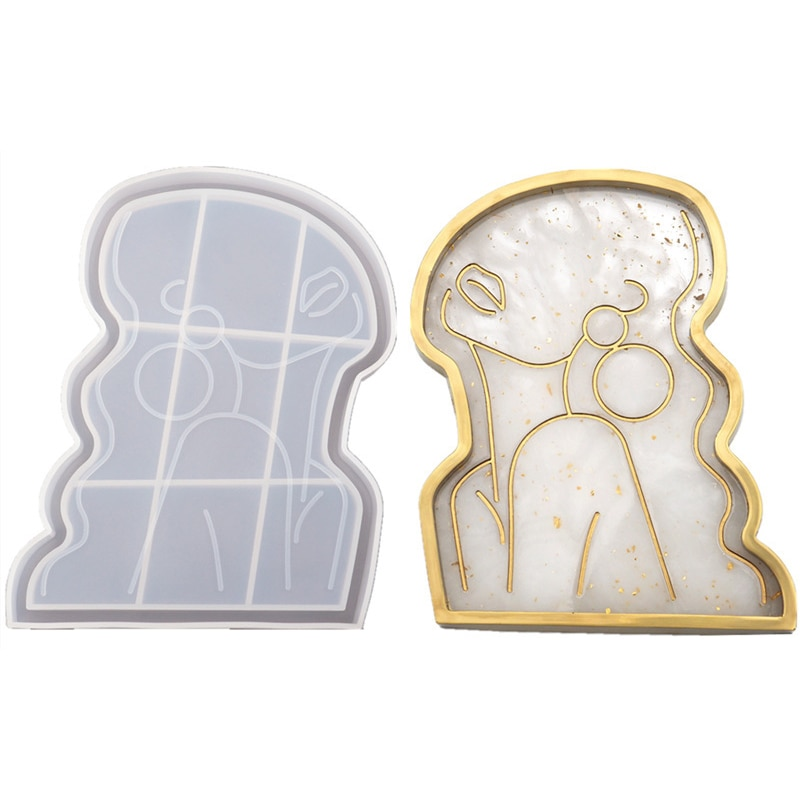 DIY Resin Epoxy Mold Girl Model Body Abstract Dish Tray Silicone Mold Silicon Molds for Resin Art  - buy with discount