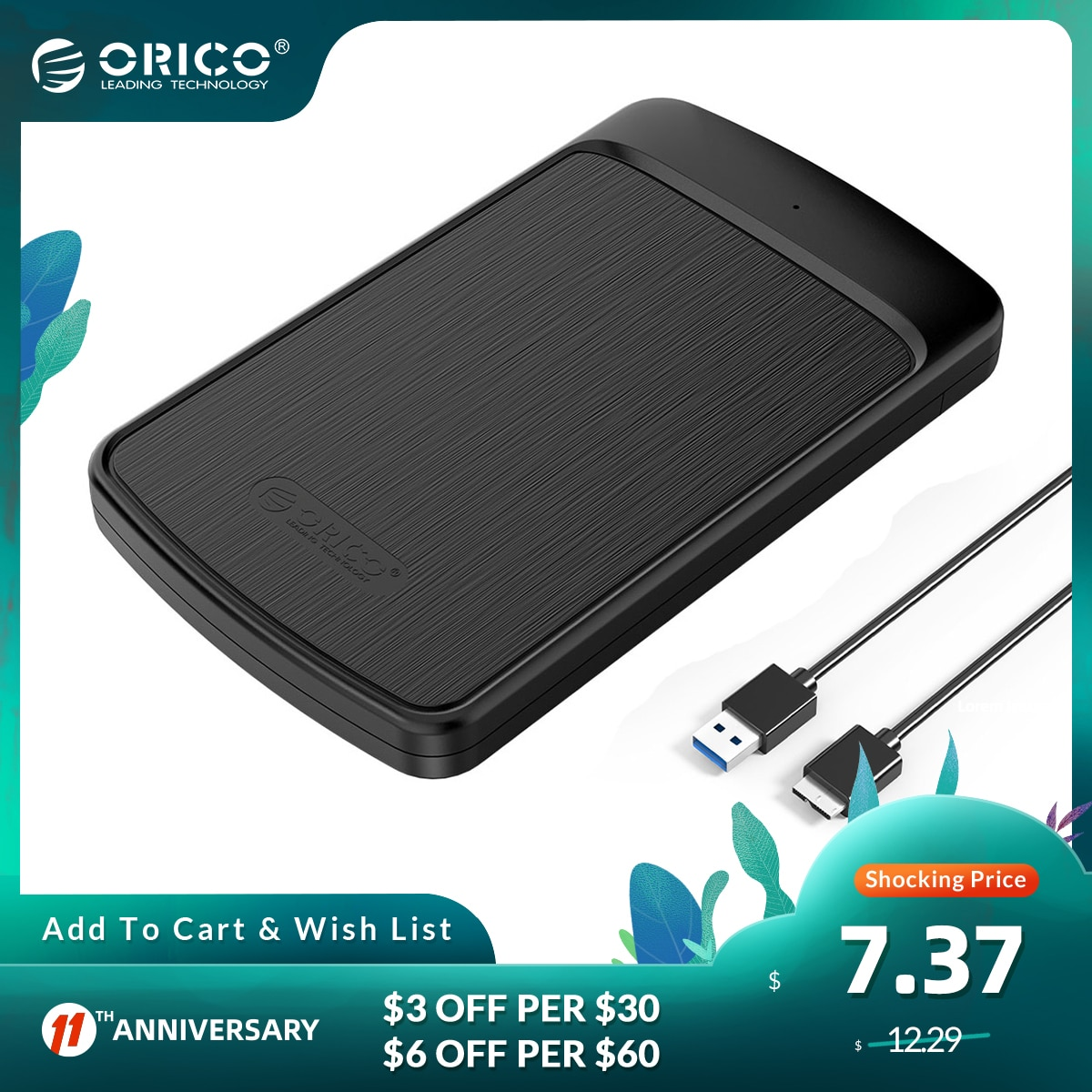 ORICO External Hard Drive Enclosure 2.5 Inch SATA to USB 3.0 Mobile HDD Storage Compatible for PC, TV,PS4 Max 4TB Tool-Free