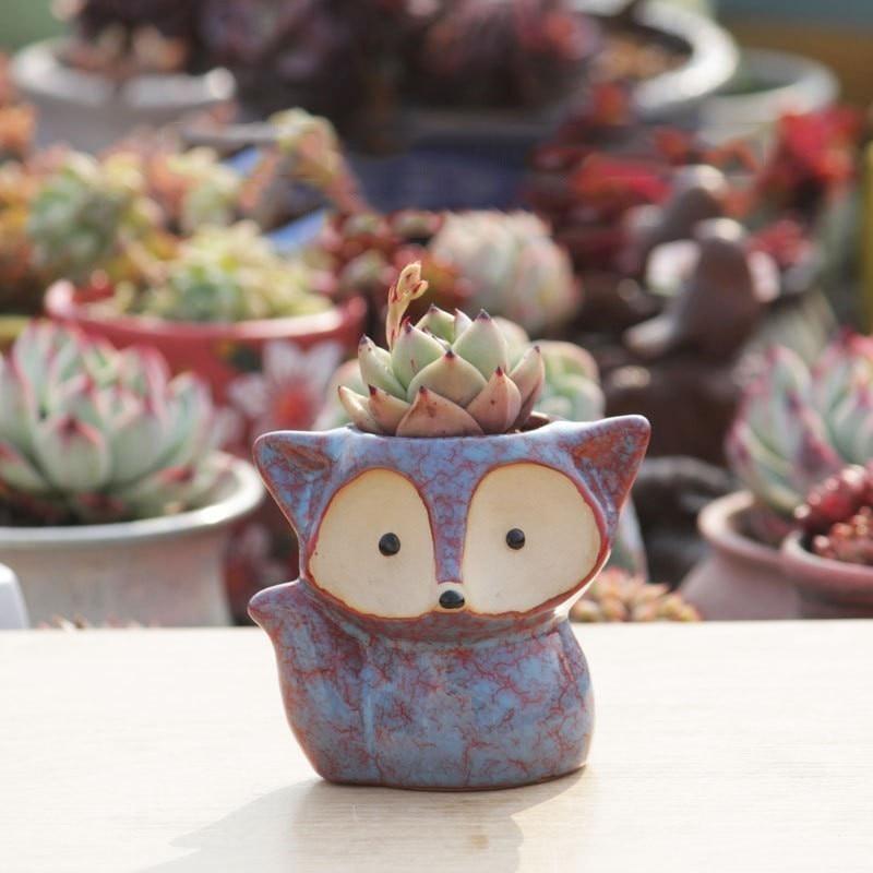 AliExpress - Creative Thumb Pot Fox Cartoon Ceramic Flower Pot Succulent Plant Pot Stoneware Breathable Pottery Basin Garden Decoration