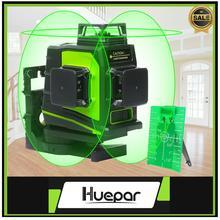 Huepar 12 satır 3D çapraz çizgi lazer seviyesi kendini tesviye 360 derece dikey ve yatay çapraz yeşil kırmızı ışın hattı USB şarj