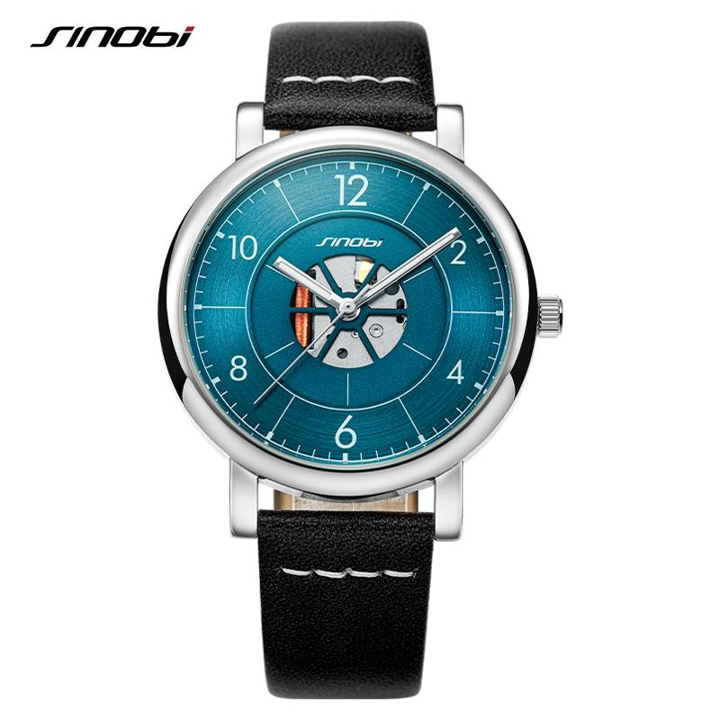 Sinobi Man Watch New Creative Hollow Design Mens Watches Luminous Leather Waterproof Sports Quartz Wristwatch Relogio Masculino