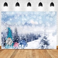 laeacco winter snow view photo backdrop christmas decor santa claus gifts pine forest light bokeh poster photography background
