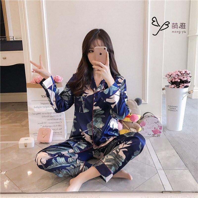بيجامة نسائية من الحرير الجليدي ، طقم من قطعتين ، كارديجان بأكمام طويلة ، النسخة الكورية ، ملابس منزلية ، مجموعة الربيع والخريف