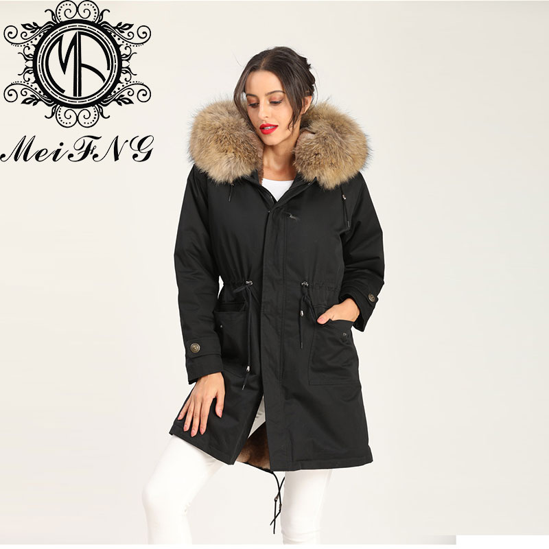 Real Shoot Russia Model Favourite Color Big Natural Collar Mental Button Big Pocket Long Coat enlarge