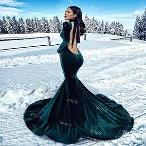 Charming Dark Green Velvet Prom Dresses Sexy Open Back Long Sleeve Mermaid Evening Dress Cheap Formal Muslim Abaya Party Skirt