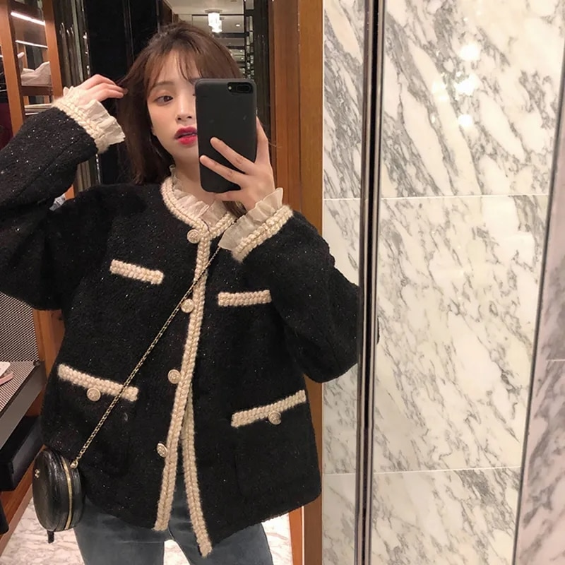 رشيقة الكشكشة قصيرة تويد الستر المرأة الكورية نمط واحدة الصدر سترة مشغولة من الصوف معطف الخريف أنيقة الأسود حفلة أبلى