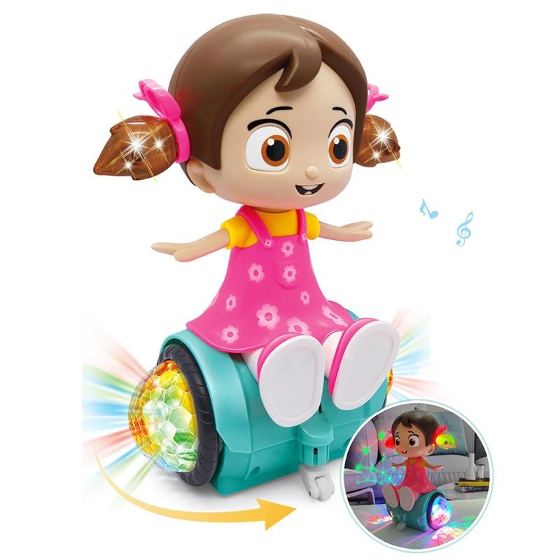 Rotación eléctrica juguetes de muñecas cantantes para niñas muñeca iluminación música muñecas educativos temprano para niñas regalos de navidad