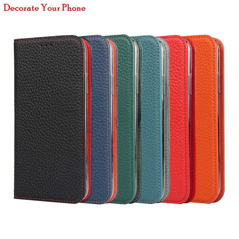 Litchi padrão genuíno couro flip capa para iphone 11 pro max cordão carteira slots de cartão capa para iphone11 pro max
