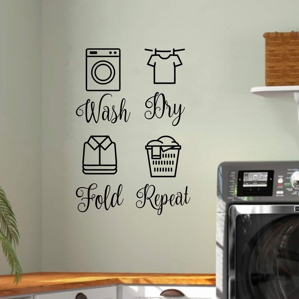 Wash Dry Fold Repeat Vinyl Decals  Laundry Room 5 inch Tall Set Wall Quote Sticker