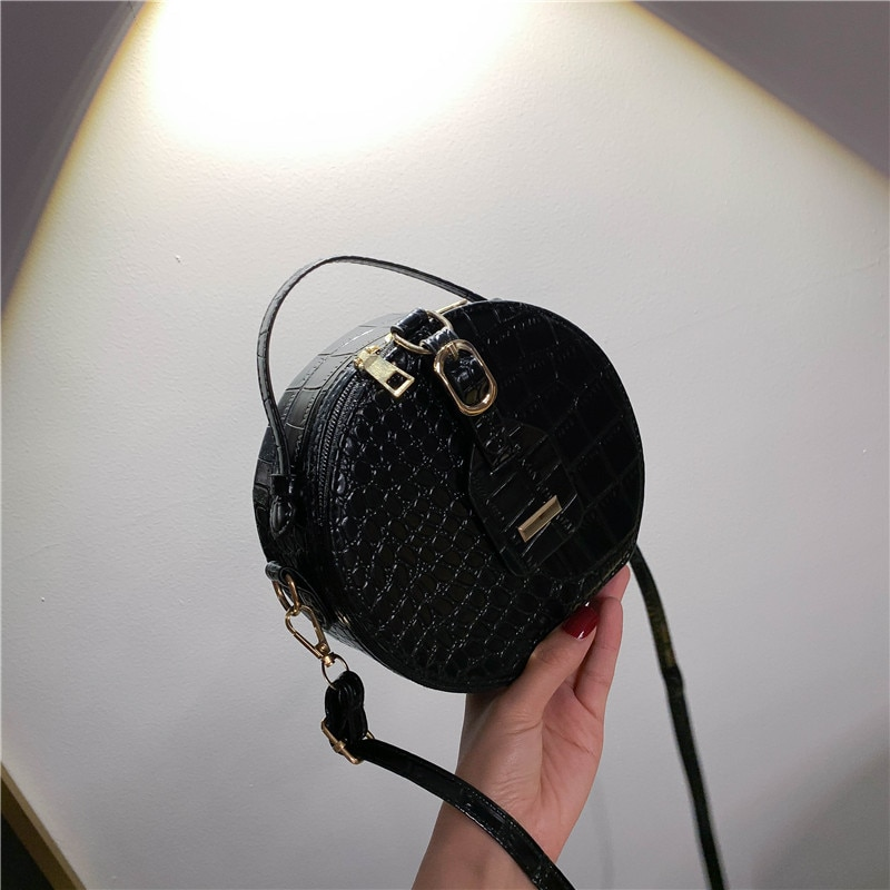 Fashion Crossbody Bag Women Crocodile Small Round Bag PU Leather Shoulder Bags Female Luxury Handbags Solid Color Tote for Girls