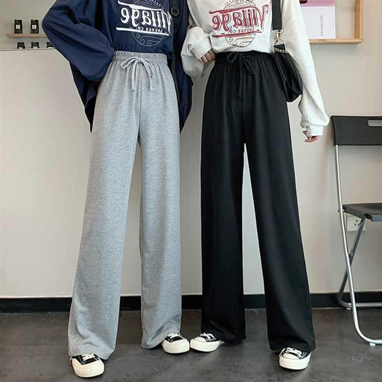 Gray Sports Pants Female Loose Straight Students Slimming High Waist Drape Leisure Wide Leg Pants Ve