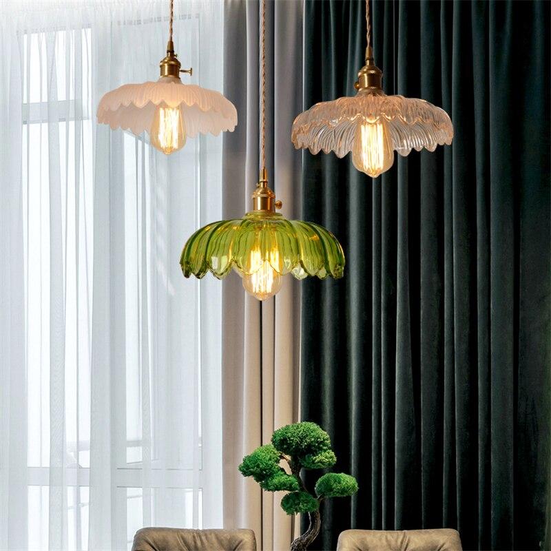 الرجعية منحوتة الزجاج قلادة LED مصباح E27 الشمال مخطط المنزل الثريا الحديثة المطبخ غرفة المعيشة ديكور غرفة نوم نجف يُعلق بالسقف