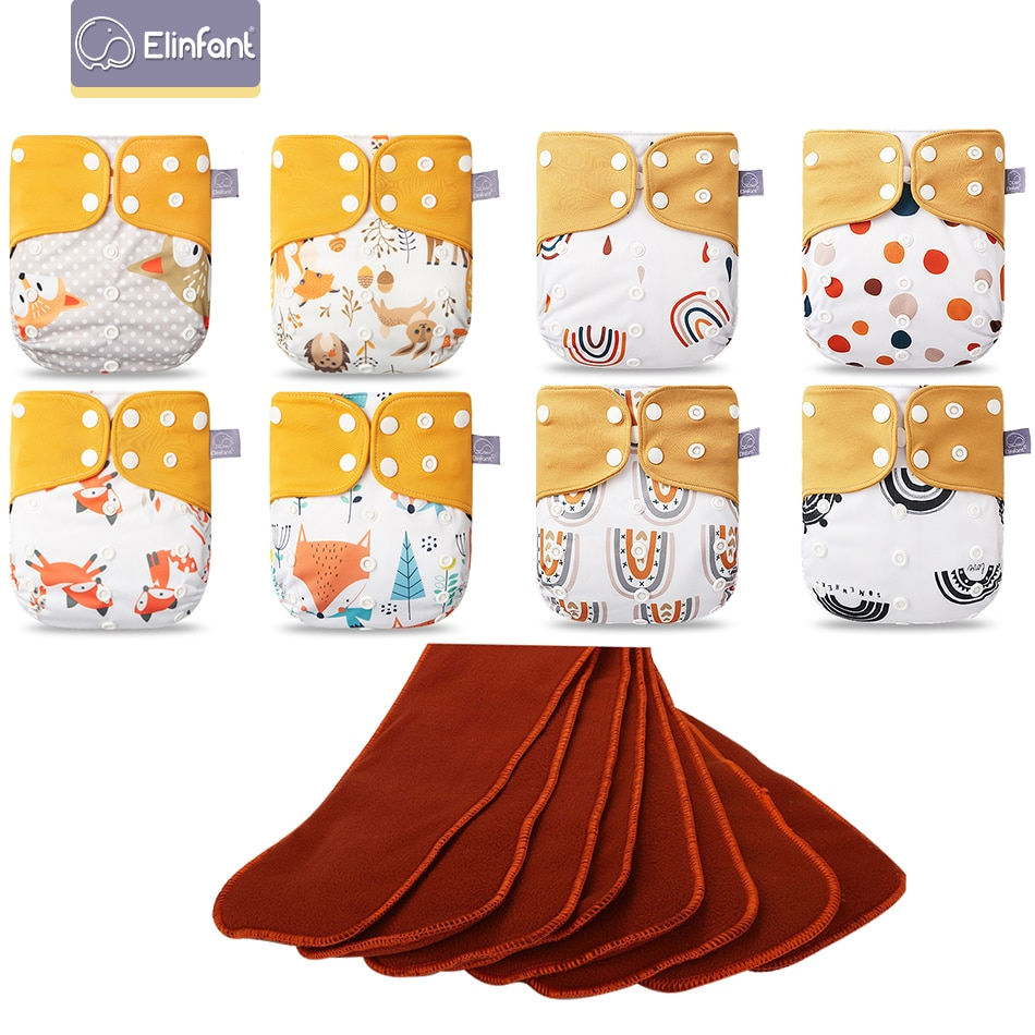 Elinfant New Matching waterproof baby pcoket diapers 8 pcs coffee mesh cloth diapers and 8pcs coffee fiber inserts