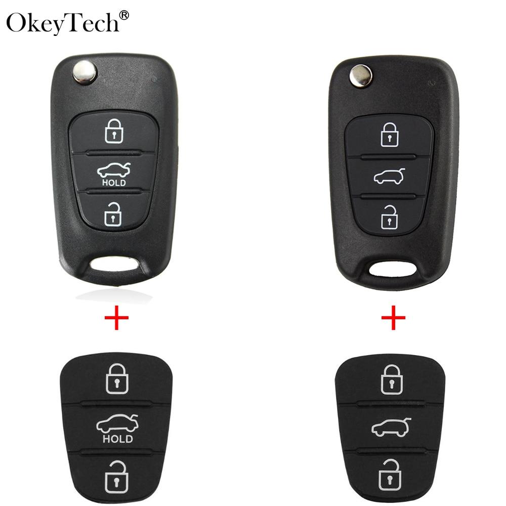 Okeytech para Hyundai Tucson Solaris botón 3 carcasa de la llave a distancia del coche para Kia K2 K5 Sorento Sportage con Pad hoja sin cortar de Fob