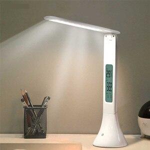 LED foldable colorful table lamp usb dimming touch charging calendar alarm clock temperature настольная лампа luminária de mesa