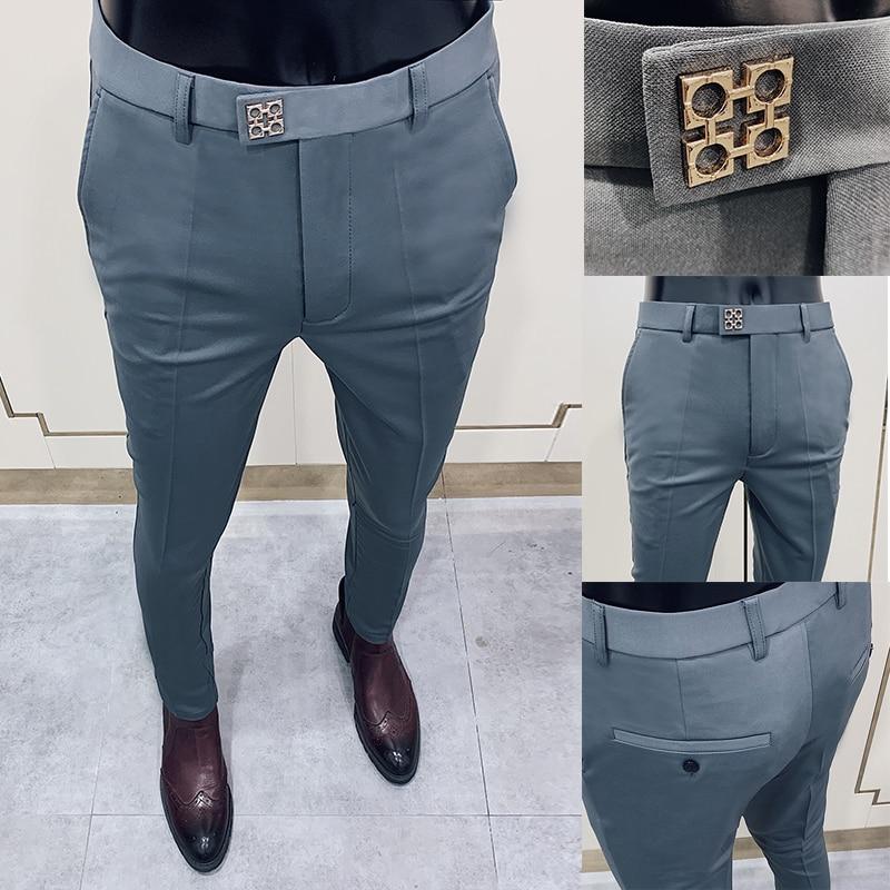 ربيع 2021 جديد الرجال دعوى السراويل موضة الأعمال عادية سليم سروال فستان الرجال الشارع ارتداء الاجتماعية الملابس الرسمية بنطلونات