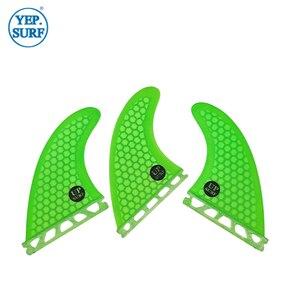 Плавники для серфинга G5, зеленые сотовые плавники из стекловолокна, бесплатная доставка, плавники будущего, размер M, плавники для доски для ...