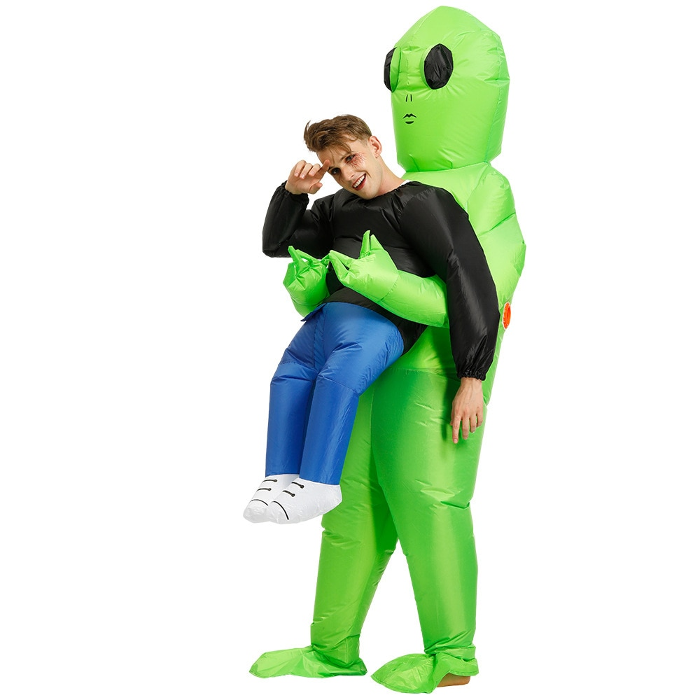 ET-Alien Inflatable Costume Dress Up Green Cosplay Funny Suit Fancy Dress Costume Adult Kids Hallowe